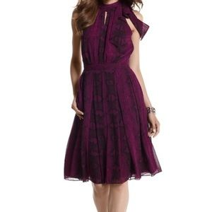WHBM Halter Tie Neck Snake Print Amethyst Dress